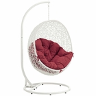 Modway Hide Outdoor Patio Wicker Rattan Swing Chair With Stand in White Red MY-EEI-2273-WHI-RED