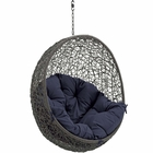 Modway Hide Outdoor Patio Wicker Rattan Swing Chair Without Stand in Gray Navy MY-EEI-2654-GRY-NAV