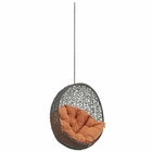 Modway Hide Outdoor Patio Wicker Rattan Swing Chair Without Stand in Gray Orange MY-EEI-2654-GRY-ORA