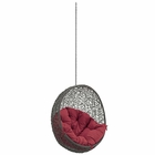 Modway Hide Outdoor Patio Wicker Rattan Swing Chair Without Stand in Gray Red MY-EEI-2654-GRY-RED