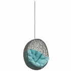 Modway Hide Outdoor Patio Wicker Rattan Swing Chair Without Stand in Gray Turquoise MY-EEI-2654-GRY-TRQ