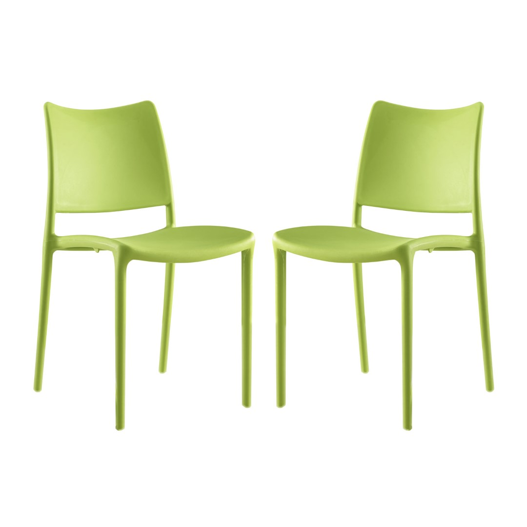 Modway Hipster Dining Side Chairs Set of 2 in Green MY-EEI ...