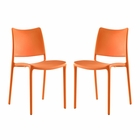 Modway Hipster Dining Side Chairs Set of 2 in Orange MY-EEI-2424-ORA-SET
