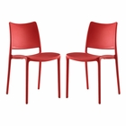 Modway Hipster Dining Side Chairs Set of 2 in Red MY-EEI-2424-RED-SET
