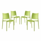 Modway Hipster Dining Side Chairs Set of 4 in Green MY-EEI-2425-GRN-SET