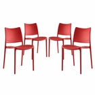 Modway Hipster Dining Side Chairs Set of 4 in Red MY-EEI-2425-RED-SET