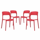 Modway Hop Dining Side Chairs Set of 4 in Red MY-EEI-2404-RED-SET