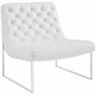 Modway Ibiza Upholstered Vinyl Lounge Chair in White MY-EEI-2089-WHI