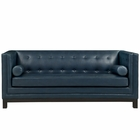 Modway Imperial Bonded Leather Sofa in Blue MY-EEI-1421-BLU
