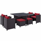 Modway Inverse 9 Piece Outdoor Patio Wicker Rattan Dining Set in Espresso Red MY-EEI-726-EXP-RED