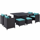 Modway Inverse 9 Piece Outdoor Patio Wicker Rattan Dining Set in Espresso Turquoise MY-EEI-726-EXP-TRQ