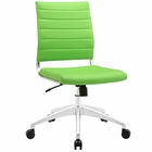 Modway Jive Armless Mid Back Faux Leather Office Chair in Bright Green MY-EEI-1525-BGR