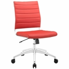Modway Jive Armless Mid Back Faux Leather Office Chair in Red MY-EEI-1525-RED