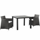 Modway Junction 3 Piece Outdoor Patio Wicker Rattan Dining Set in Brown White MY-EEI-1742-BRN-WHI-SET