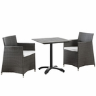 Modway Junction 3 Piece Outdoor Patio Wicker Rattan Dining Set in Brown White MY-EEI-1758-BRN-WHI-SET