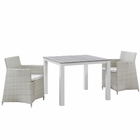 Modway Junction 3 Piece Outdoor Patio Wicker Rattan Dining Set in Gray White MY-EEI-1742-GRY-WHI-SET