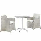 Modway Junction 3 Piece Outdoor Patio Wicker Rattan Dining Set in Gray White MY-EEI-1758-GRY-WHI-SET