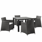 Modway Junction 5 Piece Outdoor Patio Wicker Rattan Dining Set in Brown White MY-EEI-1744-BRN-WHI-SET