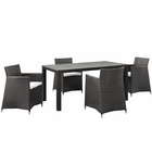 Modway Junction 5 Piece Outdoor Patio Wicker Rattan Dining Set in Brown White MY-EEI-1746-BRN-WHI-SET