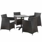 Modway Junction 5 Piece Outdoor Patio Wicker Rattan Dining Set in Brown White MY-EEI-1760-BRN-WHI-SET