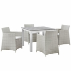 Modway Junction 5 Piece Outdoor Patio Wicker Rattan Dining Set in Gray White MY-EEI-1744-GRY-WHI-SET