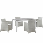 Modway Junction 5 Piece Outdoor Patio Wicker Rattan Dining Set in Gray White MY-EEI-1746-GRY-WHI-SET