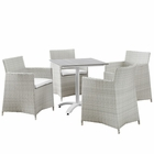 Modway Junction 5 Piece Outdoor Patio Wicker Rattan Dining Set in Gray White MY-EEI-1760-GRY-WHI-SET