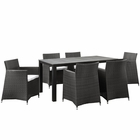 Modway Junction 7 Piece Outdoor Patio Wicker Rattan Dining Set in Brown White MY-EEI-1748-BRN-WHI-SET