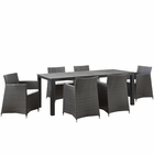 Modway Junction 7 Piece Outdoor Patio Wicker Rattan Dining Set in Brown White MY-EEI-1750-BRN-WHI-SET