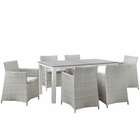 Modway Junction 7 Piece Outdoor Patio Wicker Rattan Dining Set in Gray White MY-EEI-1748-GRY-WHI-SET