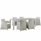 Modway Junction 7 Piece Outdoor Patio Wicker Rattan Dining Set in Gray White MY-EEI-1750-GRY-WHI-SET