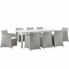 Modway Junction 9 Piece Outdoor Patio Wicker Rattan Dining Set in Gray White MY-EEI-1752-GRY-WHI-SET
