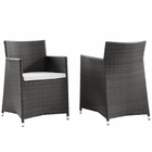 Modway Junction Armchair Outdoor Patio Wicker Set of 2 in Brown White MY-EEI-1738-BRN-WHI-SET