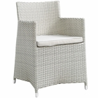 Modway Junction Dining Outdoor Patio Wicker Armchair in Gray White MY-EEI-1505-GRY-WHI