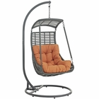 Modway Jungle Outdoor Patio Wicker Rattan Swing Chair With Stand in Orange MY-EEI-2274-ORA-SET