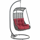 Modway Jungle Outdoor Patio Wicker Rattan Swing Chair With Stand in Red MY-EEI-2274-RED-SET