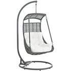 Modway Jungle Outdoor Patio Wicker Rattan Swing Chair With Stand in White MY-EEI-2274-WHI-SET
