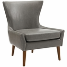 Modway Keen Faux Leather Armchair in Gray MY-EEI-2458-GRY