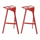 Modway Launch Stacking Bar Stool Set of 2 in Red MY-EEI-1362-RED