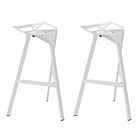 Modway Launch Stacking Bar Stool Set of 2 in White MY-EEI-1362-WHI