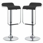 Modway LEM Bar Stools Polished Steel and Faux Leather Set of 2 in Black MY-EEI-927-BLK