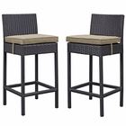 Modway Lift Bar Stool Outdoor Patio Set of 2 in Espresso Brwon MY-EEI-1281-EXP-MOC