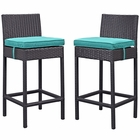 Modway Lift Bar Stool Outdoor Patio Set of 2 in Espresso Turquoise MY-EEI-1281-EXP-TRQ