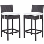 Modway Lift Bar Stool Outdoor Patio Set of 2 in Espresso White MY-EEI-1281-EXP-WHI