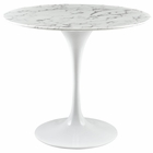 "Modway Lippa 36"" Round Artificial Marble Dining Table in White MY-EEI-1129-WHI"