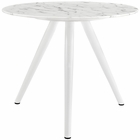 "Modway Lippa 36"" Round Artificial Marble Dining Table with Tripod Base in White MY-EEI-2522-WHI"
