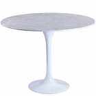 "Modway Lippa 36"" Round Marble Dining Table in White MY-EEI-514-WHI"