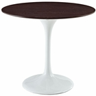 "Modway Lippa 36"" Round Walnut Top Dining Table in White MY-EEI-524-WHI"