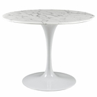 "Modway Lippa 40"" Round Artificial Marble Dining Table in White MY-EEI-1130-WHI"