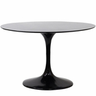 "Modway Lippa 40"" Round Fiberglass Dining Table in Black MY-EEI-118-BLK"